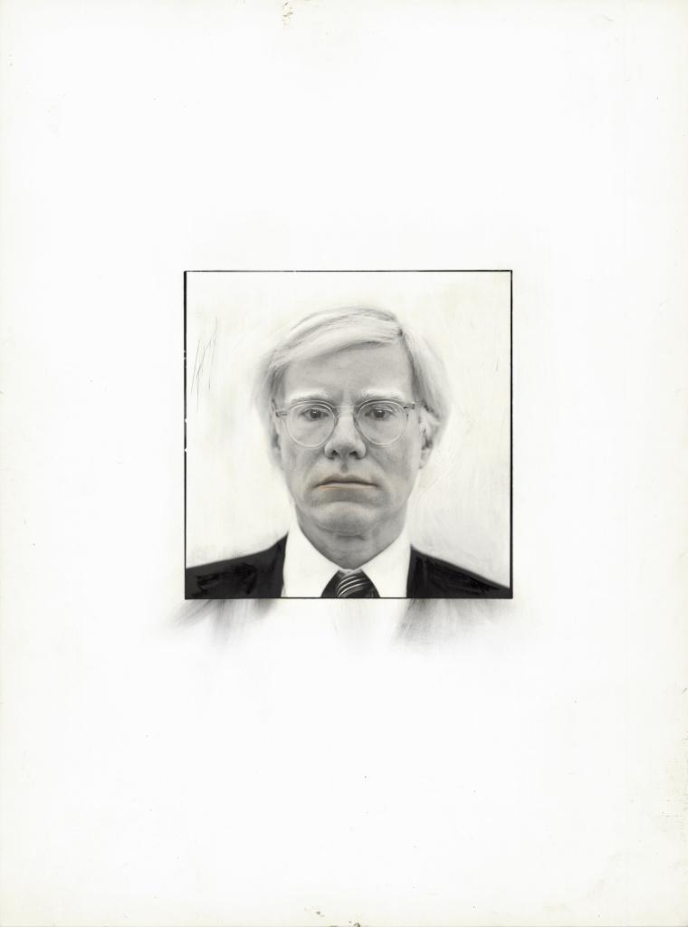 Andy Warhol, 1980. Übermalter PE-Print, Vintage, Format ca 9 x 9 cm
